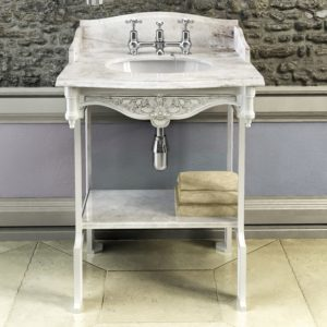 Carrara marble basin with aluminium stand by Burlington
