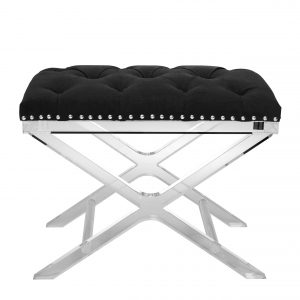 Stool Bruno  black velvet by Eichholtz