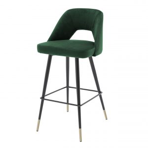 Bar stool Avorio Roche green velvet  by Eichholtz