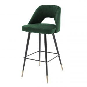 Bar stool Avorio Roche green velvet  by Eichholtz