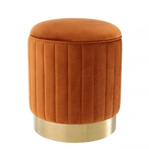 Stool Allegra Roche orange velvet by Eichholtz