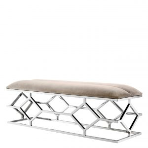 Bench Trellis Pebble grey by Eichholtz
