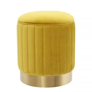 Stool Allegra Roche yellow velvet by Eichholtz