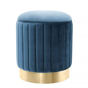 Stool Allegra Roche teal blue velvet by Eichholtz