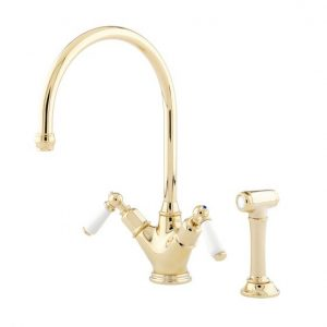 Minoan Sink Mixer with Lever Handles and Rinse by Perrin&Rowe