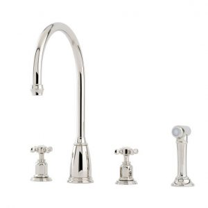 Athenian Sink Mixer with Crosstop Handles and Rinse by Perrin&Rowe