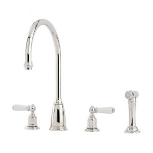 Athenian Sink Mixer with Lever Handles and Rinse by Perrin&Rowe