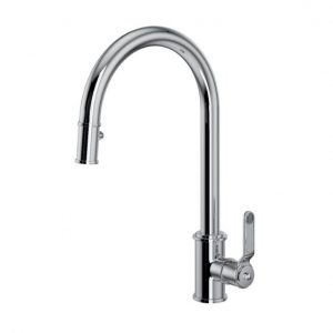 Armstrong Single Lever Mixer with Pull Down Rinse, with Textured Handle by Perrin&Rowe