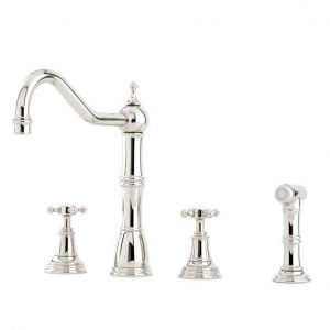 Alsace Sink Mixer with Crosstop Handles and Rinse by Perrin&Rowe