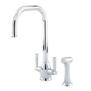 Oberon Sink Mixer with U-Spout and Rinse by Perrin&Rowe