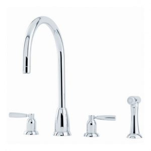 Callisto Sink Mixer with C-Spout, Lever Handles and Rinse by Perrin&Rowe