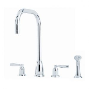 Callisto Sink Mixer with U-Spout, Lever Handles and Rinse by Perrin&Rowe